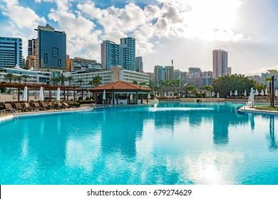 Beirut, Lebanon - August 16, 2016: Resort Hotel at Raouche in Beirut, Lebanon.