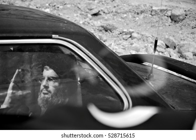 Beirut, Lebanon - August 21, 2006 : The war between Hezbollah and Israel in 2006 and pictures of  Hasan Nasrallah, the leader of Hezbullah on every car.