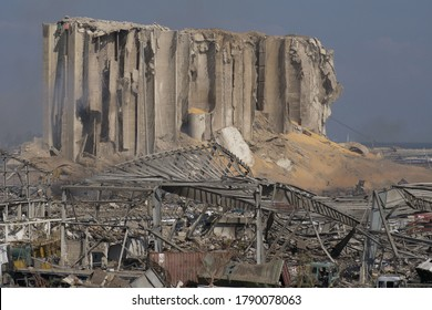 Beirut, Lebanon- August 5, 2020: the destruction caused by the chemical explosion