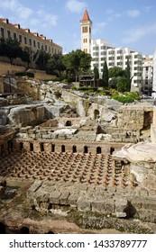 BEIRUT, LEBANON - CIRCA APRIL 2019 Ruins of Roman bath
