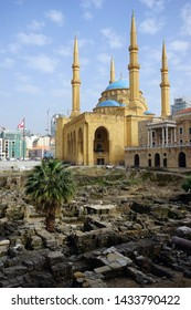 BEIRUT, LEBANON - CIRCA APRIL 2019 Roman ruins in front of Mohammad Al-Amin mosque and Saint Georges Maronite & Orthodox Cathedrals in downtown