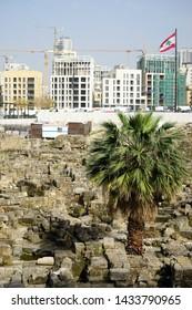 BEIRUT, LEBANON - CIRCA APRIL 2019 Roman ruins in front of Mohammad Al-Amin mosque