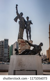 Beirut, Lebanon - February 10 2017: Martyrs' monument on the Martyrs' Square in downtown Beirut, Lebanon.