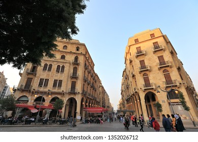Beirut, Lebanon- February 24th 2019: People relaxing in downtown Beirut's Nijmeh square, one of the few car free public spaces in the city.