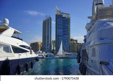BEIRUT, LEBANON – JANUARY, 2017:  Zaitunay Bay. Minet el Hosn, Beirut Marina. Beirut's leisure and entertainment destination. Four Seasons Hotel Beirut, a luxury hotel.