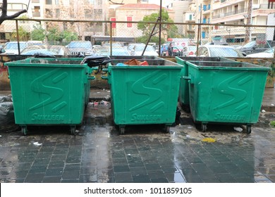 Beirut, Lebanon, January 26th 2018: Mixed municipal solid waste containers awaiting collection