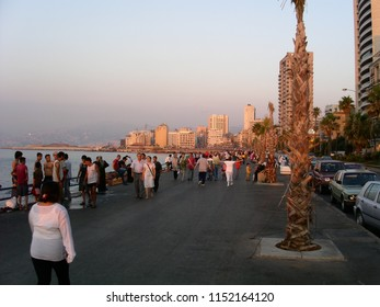 Beirut, Lebanon - July 20, 2004: The corniche in Beirut, the famous walk along the Mediterranean in the sunset