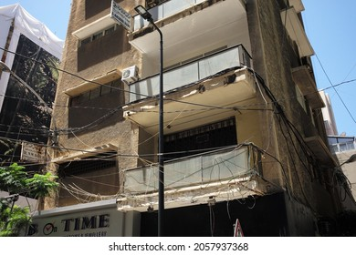 Beirut, Lebanon – July 3, 2019: Electrical wires in Beirut are haphazardly placed in and around buildings as many residents rely on private generators for power.