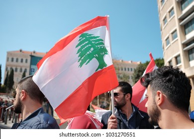 Beirut, Beirut / Lebanon - March 13 2017: Lebanese protesters with Lebanese flag