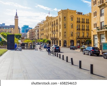 BEIRUT, LEBANON - MAY 22, 2017 - View of Beirut Central District (or Centre Ville), the city's historical, geographical, commercial and administrative core.