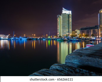 BEIRUT, LEBANON - MAY 24, 2017 - View of the port of Zaitunay Bay by night.