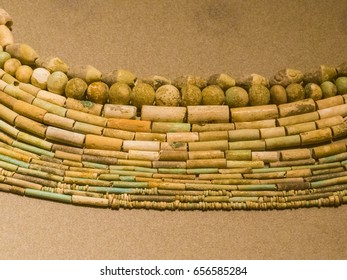 BEIRUT, LEBANON - MAY 24, 2017 - Phoenician necklace on display in the National Museum of Beirut.