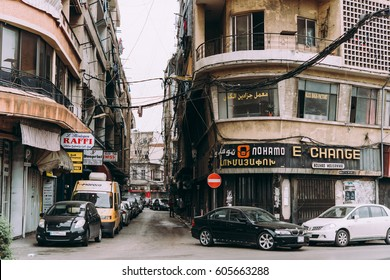 BEIRUT, LEBANON - NOVEMBER, 16, 2016: View of one of the streets in Bourj Hammoud armenian district of Beirut, Lebanon.