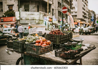 BEIRUT, LEBANON - NOVEMBER, 16, 2016: Fruits and vegetables on sale from a small stall in one of the districts of Beirut, Lebanon.