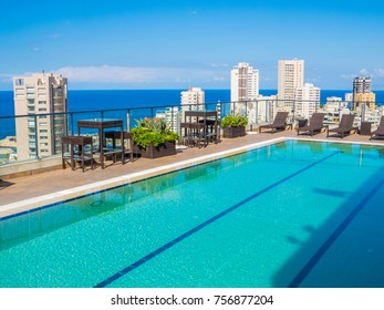 BEIRUT, LEBANON - NOVEMBER 2, 2017 - Outdoor swimming pool on the top floor of Hotel Raouche Arjaan.