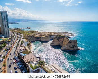 BEIRUT, LEBANON - NOVEMBER 2, 2017 - Aerial view of the Pigeons' Rocks on Raouche.