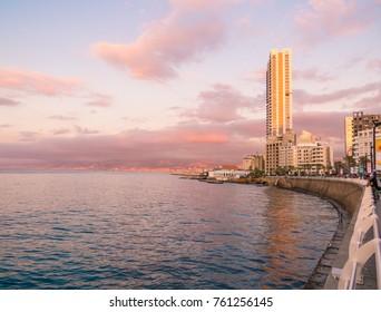BEIRUT, LEBANON - NOVEMBER 2, 2017 - Sunset on La Corniche, a seaside promenade in Beirut Central District.
