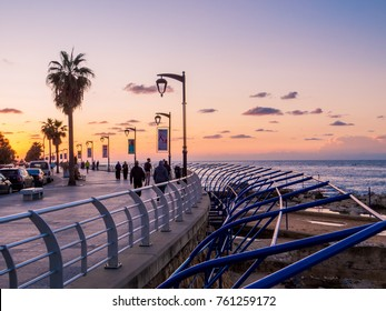 BEIRUT, LEBANON - NOVEMBER 2, 2017 - Unidentified people at sunset on La Corniche, a seaside promenade in Beirut Central District.