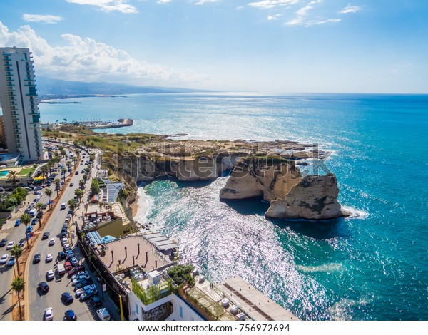 BEIRUT, LEBANON - NOVEMBER 2, 2017: Aerial view of the Pigeons' Rocks on Raouche.