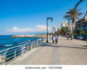 BEIRUT, LEBANON - NOVEMBER 3, 2017 - Unidentified people on the Corniche promenade.