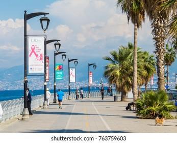 BEIRUT, LEBANON - NOVEMBER 3, 2017:  Unidentified people on the Corniche promenade.