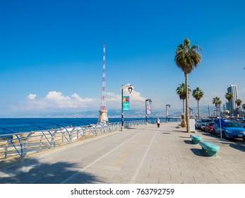 BEIRUT, LEBANON - NOVEMBER 3, 2017 - Sunny view of the Corniche promenade.