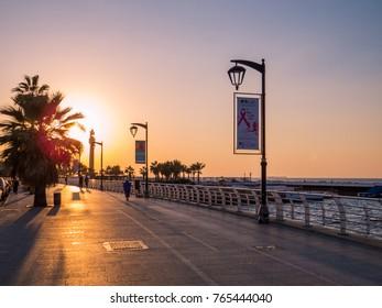 BEIRUT, LEBANON - NOVEMBER 3, 2017: Magical sunset on La Corniche promenade.