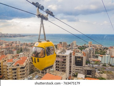 BEIRUT, LEBANON - NOVEMBER 5, 2017:   View of the Cable Car in Jounieh.