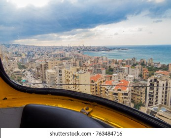 BEIRUT, LEBANON - NOVEMBER 5, 2017 -  View from the Cable Car in Jounieh.