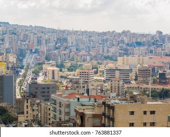 BEIRUT, LEBANON - NOVEMBER 5, 2017 - City aerial view from the cable car in Jounieh.