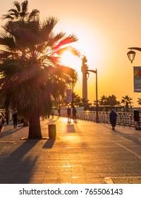 BEIRUT, LEBANON - NOVEMBER 7, 2017 - Magical sunset on La Corniche promenade.