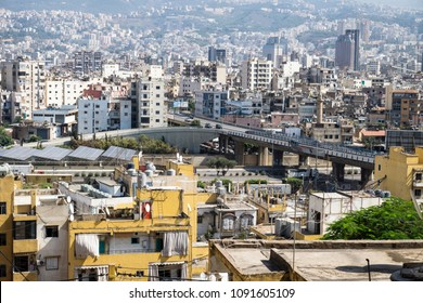 Beirut, Lebanon - October 1 2015: Overview over the choas of crowded Beirut city with bridge