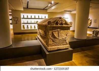 BEIRUT, LEBANON - OCTOBER 2017: National Archeological Artifacts Museum Stone Coffin with Ship Carvings