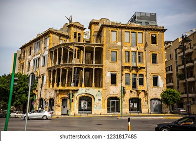 BEIRUT, LEBANON - October 2018: Beit Beirut - Museum and Urban Cultural Center building, dedicated to civil war history in Lebanon