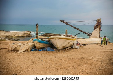BEIRUT, LEBANON - October 2018: Boat docked by the sea in Beirut city, Lebanon