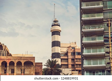 Beirut, Lebanon - October 2018: Old Beirut lighthouse surrounded with houses in Beirut downtown, Lebanon