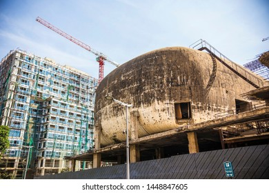 BEIRUT, LEBANON - October 2018: Partial view of the old abandoned egg-shaped movie theater of the Beirut City Center, Lebanon