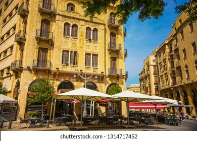 BEIRUT, LEBANON - October 2018: Traditional French architecture and street cafe in Beirut downtown,Lebanon