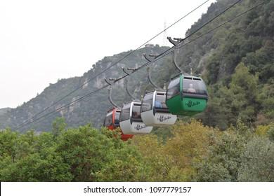 Beirut, Lebanon - October, 23 2015: Cable car in Jeita Grotto in the center of Lebanon.