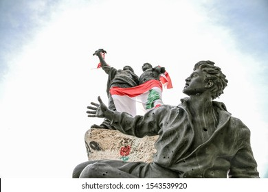 Beirut, Lebanon - October 26, 2019: Martyrs' Square during the Lebanese Revolution, against the current government, and against corruptions in the country