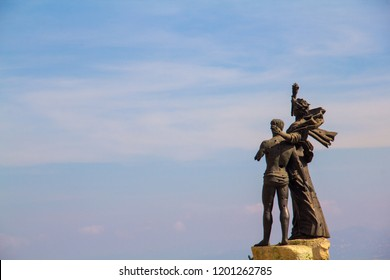 BEIRUT, LEBANON - October 5, 2018: Martyrs' Monument, a statue by Marino Mazzacurati on Martyrs' Square, in honor of martyrs executed in 1916 at the orders of the Ottoman military ruler.
