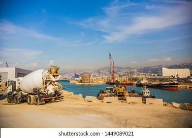 BEIRUT, LEBANON - September 2018: Beirut cargo port, industrial cityscape of Beirut city, Lebanon