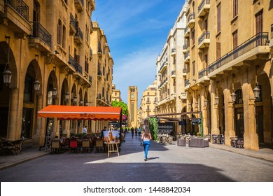 BEIRUT, LEBANON - September 2018: Beirut center cityscape. View of Hamidiya Clock Tower at Najmah Square, Beirut downtown, Lebanon
