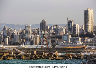 BEIRUT, LEBANON - September 2018: Beirut city skyline, view form the bay, skyscrapers of Beirut, Lebanon