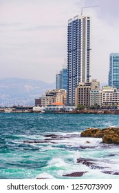 BEIRUT, LEBANON - September 2018: Beirut city skyline, view form the bay, skyscrapers of Beirut, Lebanon. Storm on the sea in Beirut, Lebanon
