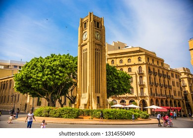 BEIRUT, LEBANON - September 2018: Hamidiya Clock Tower at Najmah Square, Beirut downtown, Lebanon