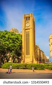 BEIRUT, LEBANON - September 2018: Hamidiya Clock Tower at Najmah Square, Beirut downtown, Lebanon