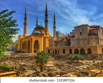 BEIRUT, LEBANON - September 2018: Roman ruins, Al Amin Mosque, St Georges Maronite Church in one place, Beirut downtown, Lebanon