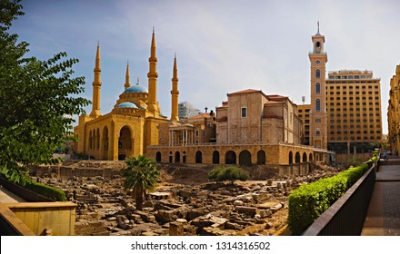 BEIRUT, LEBANON - September 2018: Roman ruins, Al Amin Mosque, St Georges Maronite Church in one place, panorama of Beirut downtown, Lebanon