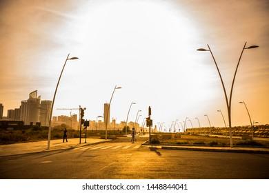 BEIRUT, LEBANON - September 2018:  Beirut seafront at sunset, people walking at Beirut quay on weekend, Lebanon